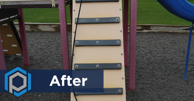 Graffiti Removal From Park Ladder After Shot