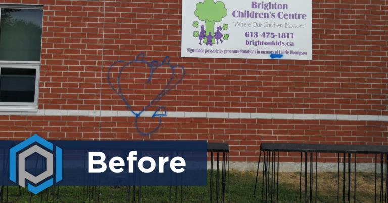 Graffiti Removal From Brick Before Shot