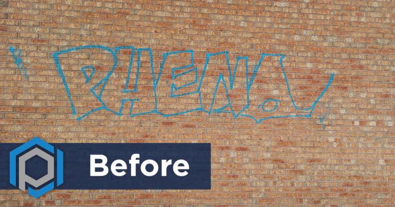Graffiti Removal From Brick Wall Before Shot