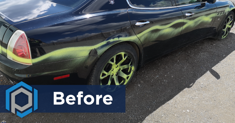 Graffiti Removal From Car Before Shot