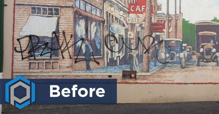 Graffiti Removal From Wall Mural Before Shot