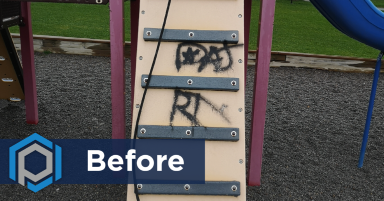 Graffiti Removal From Park Ladder Before Shot