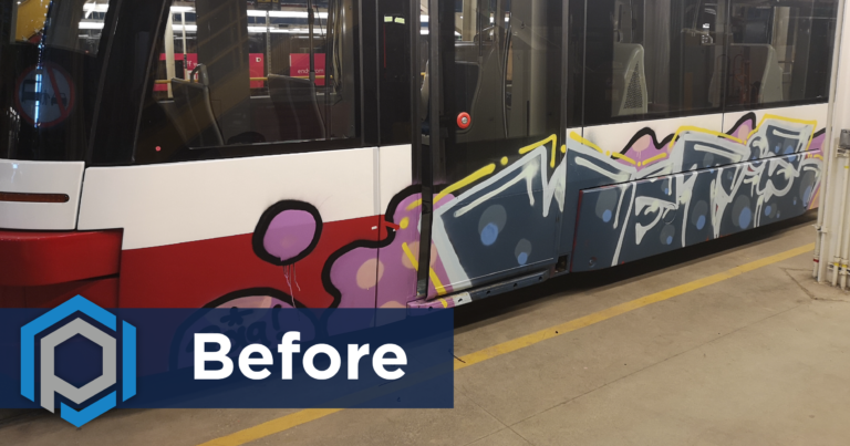 Graffiti Removal From Streetcar Before Shot