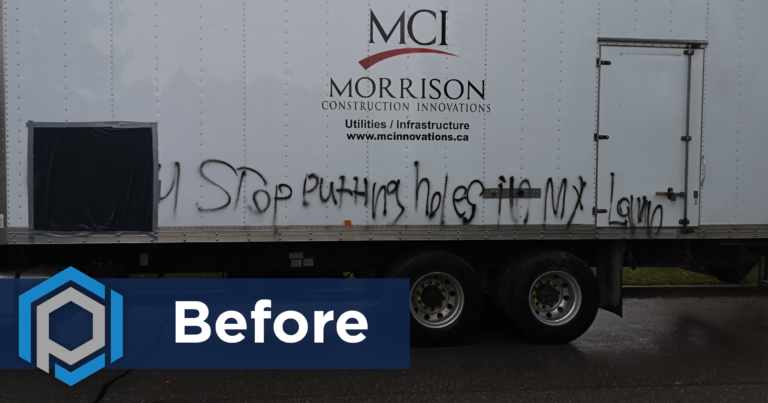 Graffiti Removal From Commercial Truck Before Shot